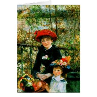 Cartão Duas irmãs (no terraço) por Pierre Renoir