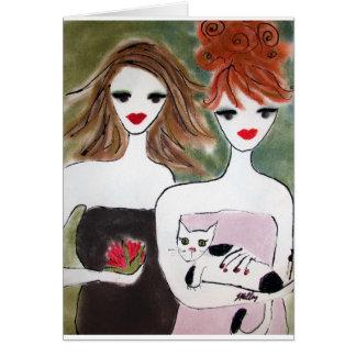 Cartão Duas meninas e um gato