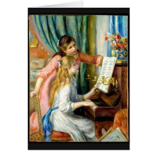 Cartão Duas meninas no piano - Pierre Auguste Renoir