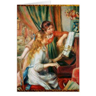 Cartão Duas meninas no piano por Renoir