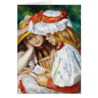 Cartão Duas meninas que lêem a pintura de Pierre Auguste