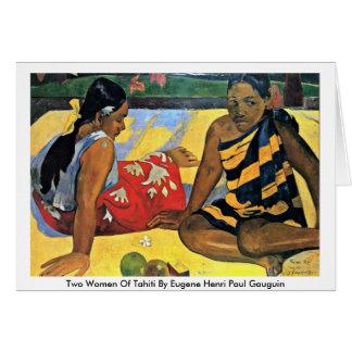 Cartão Duas mulheres de Tahiti por Eugene Henri Paul