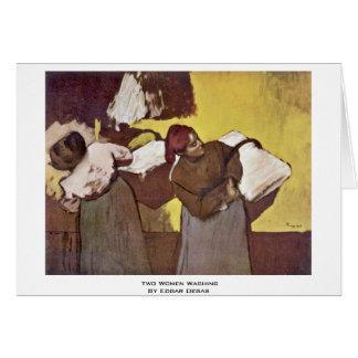 Cartão Duas mulheres que lavam por Edgar Degas