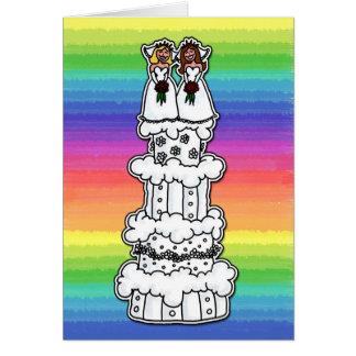 Cartão Duas noivas no bolo de casamento