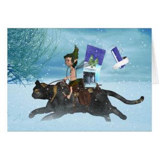 Cartão Duende da floresta do solstício de inverno no gato