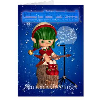 Cartão Duende do Natal que canta a noite silenciosa