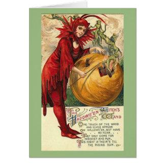 Cartão Duendes do Dia das Bruxas do vintage,