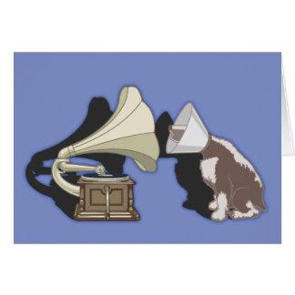 Cartão Dueto - cão & gramofone