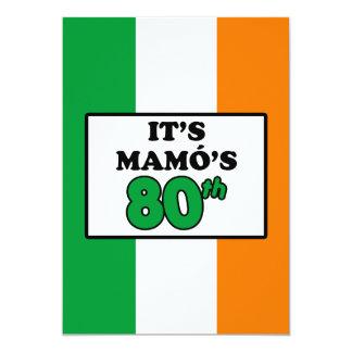 Cartão É bandeira irlandesa do aniversário do 80 de Mamo