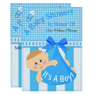 """Cartão """"É chá de fraldas de um menino"""" convida"""