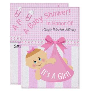 """Cartão """"É chá de fraldas de uma menina"""" convida"""