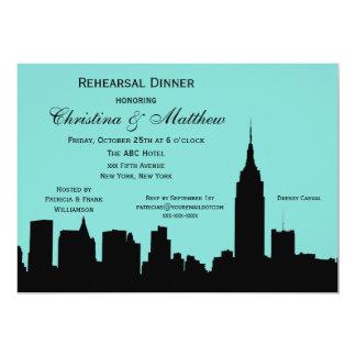 Cartão #E do jantar de ensaio da silhueta da skyline de