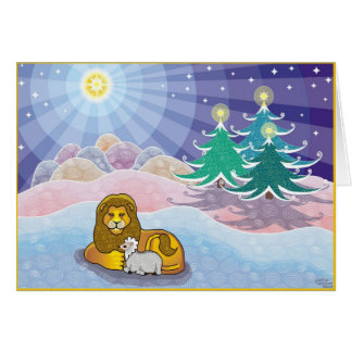 Cartão E o leão estabelecerá com o cordeiro