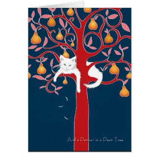 Cartão E um persa em uma árvore de pera… Feriado