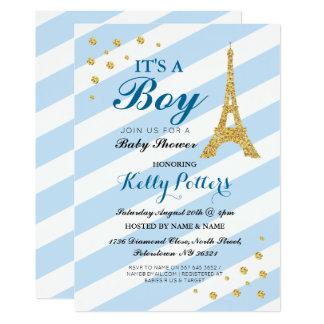 Cartão É uma listra azul da torre Eiffel do chá de