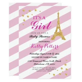Cartão É uma listra da torre Eiffel do chá de fraldas do