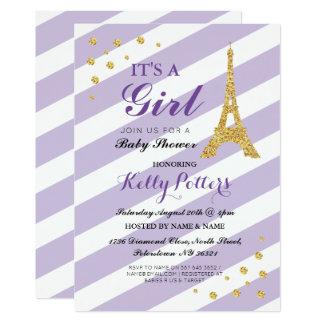 Cartão É uma listra roxa da torre Eiffel do chá de