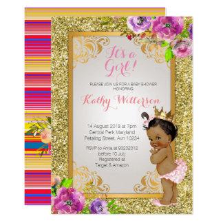 Cartão É uma menina o chá de fraldas do ouro que convida