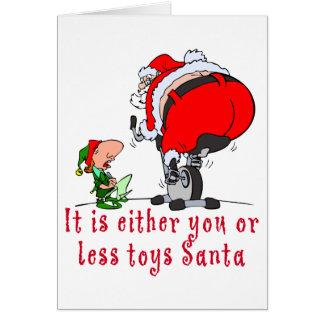 Cartão É você ou menos papai noel dos brinquedos