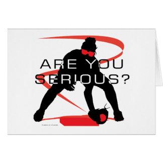 Cartão É você softball vermelho sério do jogador de campo