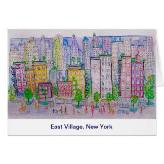 Cartão East Village, New York, skyline, cena da rua