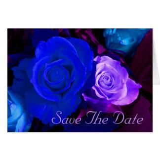 Cartão Economias azuis do rosa do roxo a data