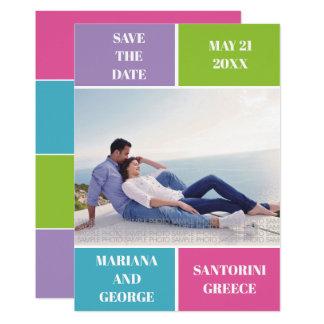Cartão Economias coloridas do casamento do bloco da cor a