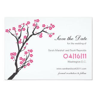 Cartão Economias cor-de-rosa da flor de cerejeira a data