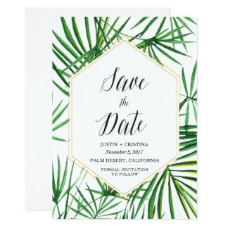 Cartão Economias da folha de palmeira a data