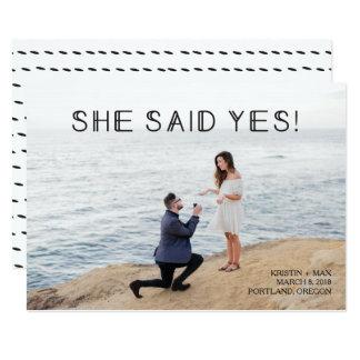 Cartão Economias da foto a data - disse sim!