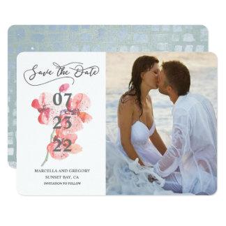 Cartão Economias da foto do casamento de praia da flor da