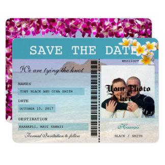 Cartão Economias da passagem de embarque do casamento de