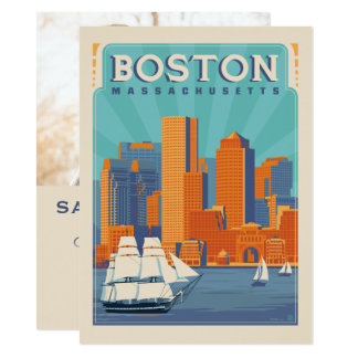 Cartão Economias de Boston, Massachusetts   a data - foto
