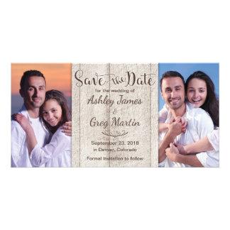 Cartão Economias de madeira rústicas do casamento da