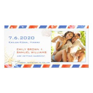 Cartão Economias do casamento de praia do correio aéreo a