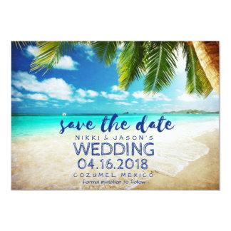 Cartão Economias do casamento do destino da praia de
