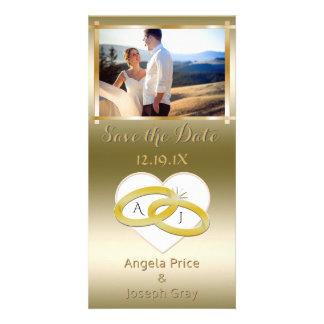 Cartão Economias elegantes do casamento o ouro da foto da