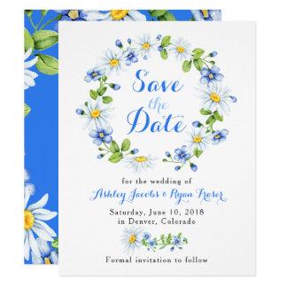 Cartão Economias florais azuis do casamento da margarida
