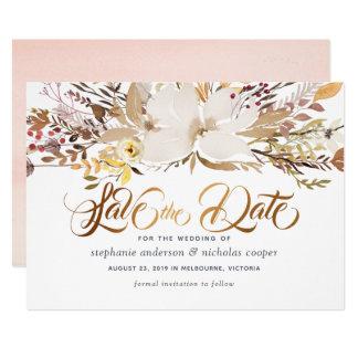 Cartão Economias florais da aguarela a data