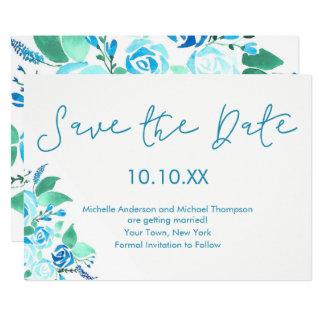 Cartão Economias florais da aguarela do rosa do azul a