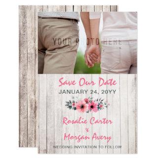 Cartão Economias florais de madeira rústicas do casamento