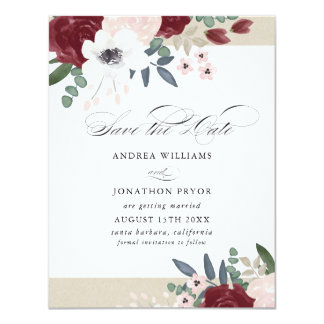 Cartão Economias florais românticas a data