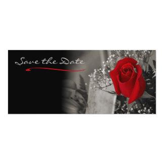Cartão Economias preto e branco da rosa vermelha elegante