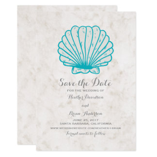 Cartão Economias que rústicas do Seashell de turquesa a