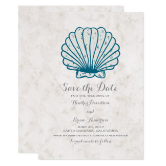 Cartão Economias que rústicas do Seashell dos azuis