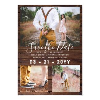 Cartão Economias RÚSTICAS a COLAGEM da FOTO do casamento