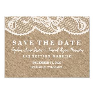 Cartão ECONOMIAS rústicas CHIQUES do casamento do laço de