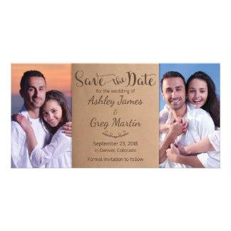 Cartão Economias rústicas do casamento da colagem da foto