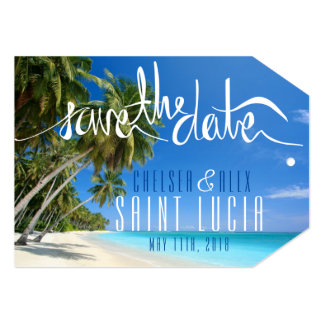 Cartão Economias tropicais do casamento de praia o Tag da