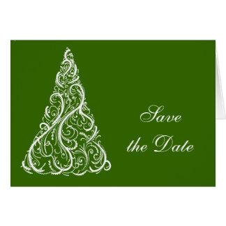 Cartão Economias verdes do casamento no inverno da árvore